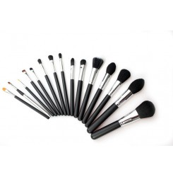 Wholesale & OEM Hot Sale Professional 15 Pieces Makeup Brushes Black Silver Wood Handle Synthetic Hair