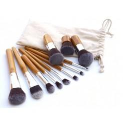 CH031-1#11pcs Bamboo Makeup Brush Set (with bag)
