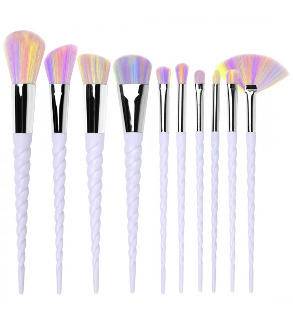 B10LWYGCM#10 Pieces  Rainbow  Unicorn Makeup Brush Set